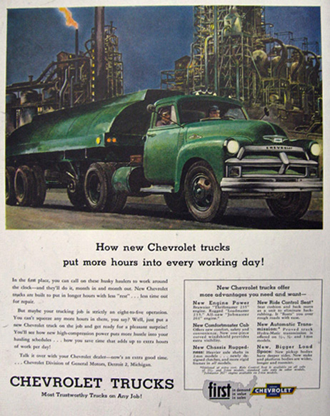 1954 Chevy Truck Ad ~ More Hours in a Working Day, Vintage ...