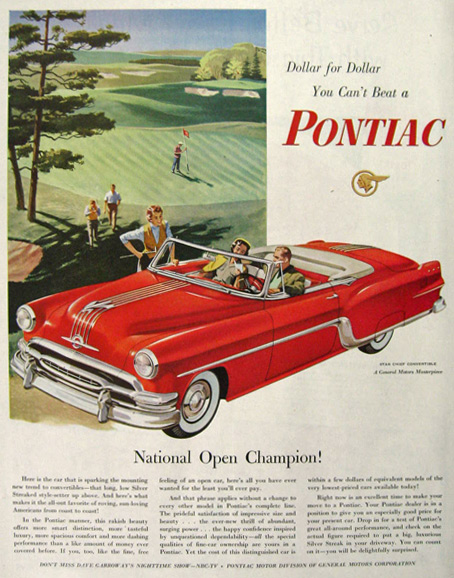 1954 Pontiac Star Chief Convertible Ad ~ National Open Golf