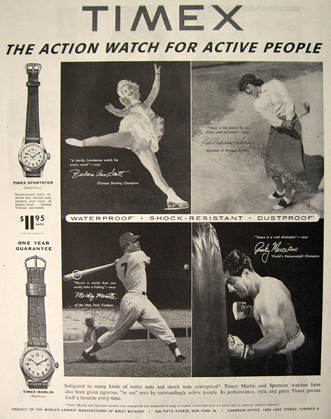 1954 Timex Watch Ad ~ Mickey Mantle, Sports Stars