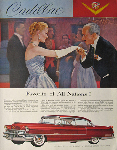 1955 Cadillac Ad ~ Favorite of All Nations