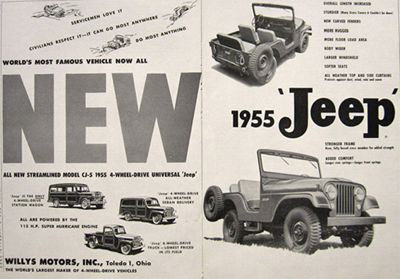 1955 Vintage CJ-5 Jeep Ad