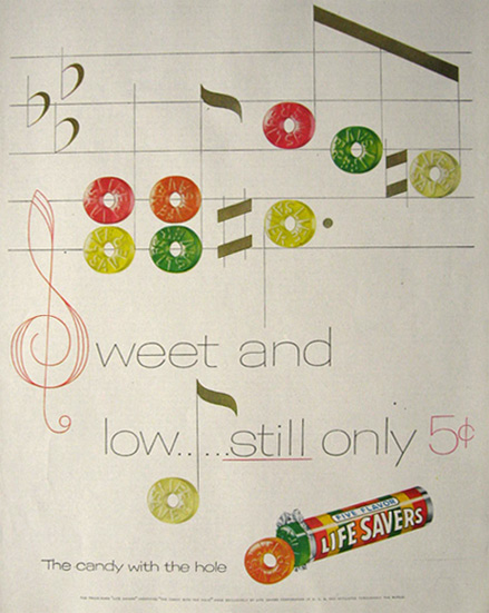 1955 Lifesavers Candy Ad ~ Sweet and Low
