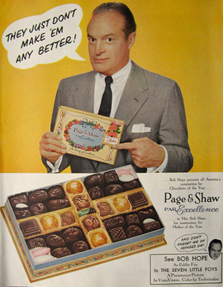 1955 Page & Shaw Candy Ad ~ Bob Hope