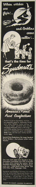 1955 Spudnuts Donuts Halloween Ad