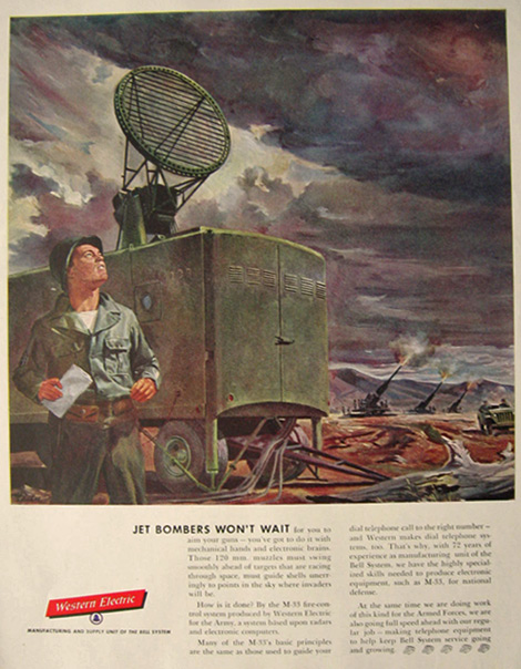 1955 Western Electric Ad ~ M-33 Gunfire Control Radar