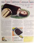1932 Baker's Chocolate Ad ~ Chocolate Nautilus Roll Recipe