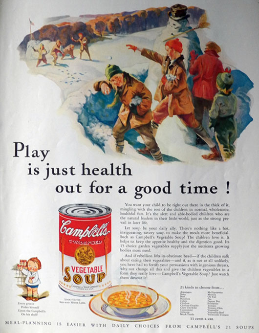 1932 Campbell's Soup Ad ~ Snowball Fight