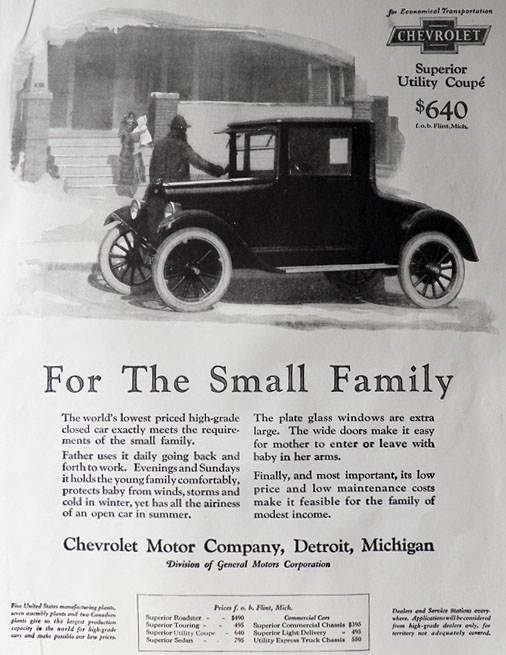 1924 Chevy Utility Coupe Ad ~ For the Small Family