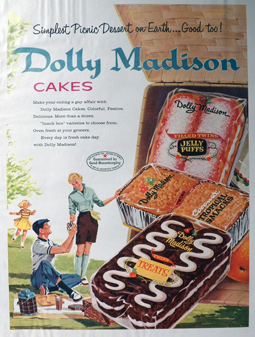 1958 Vintage Dolly Madison Cakes Ad ~ Picnic Dessert