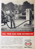 1958 Esso Gasoline Ad ~ Vintage Gas Pump Photo