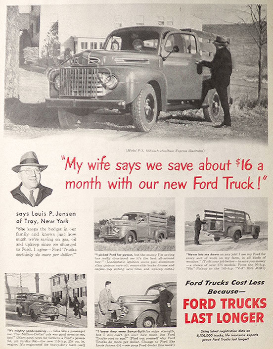 1950 Vintage Ford F-3 Truck Ad ~ Louis Jensen of Troy, NY