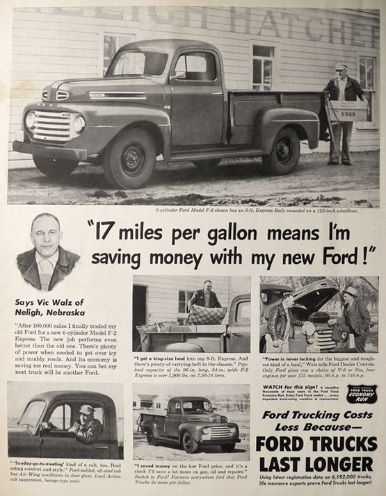1950 Vintage Ford F-2 Truck Ad ~ Vic Walz of Neligh, NE