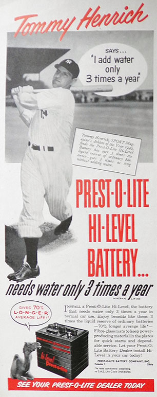 1950 Prest-O-Lite Car Battery Ad ~ Tommy Henrich