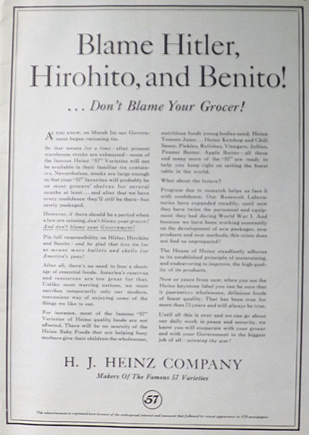 1942 WWII Heinz Co. Ad ~ Tin Rationing