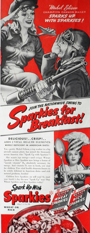 1942 WWII Sparkies Cereal Ad ~ Female Aircraft Worker