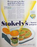 1932 Stokely's Honey Pod Sugar Peas Ad ~ Every Pea Has a Flavor