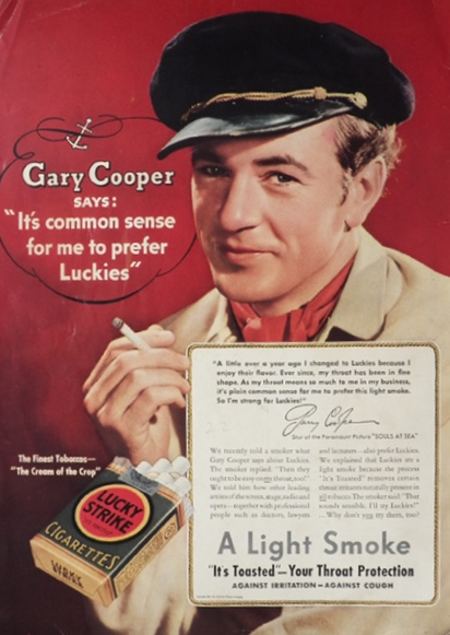 1937 Lucky Strike Cigarettes Ad ~ Gary Cooper