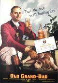 1937 Old Grand-Dad Whiskey Ad ~ Hunter with Fox Hound