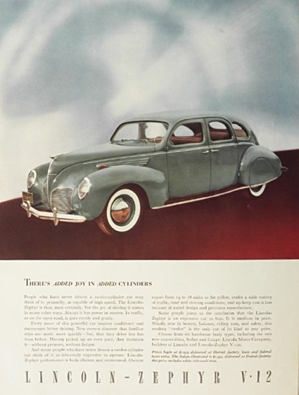 1938 Lincoln Zephyr Ad ~ Joy in Added Cylinders