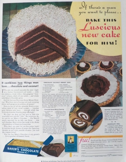 1935 Baker's Chocolate Ad ~ Chocolate Coconut Cake Recipe