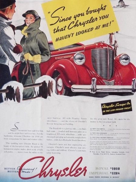 1938 Chrysler Royal Ad ~ Woman Jealous of Car