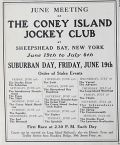 1908 Coney Island Jockey Club Ad ~ Suburban Day