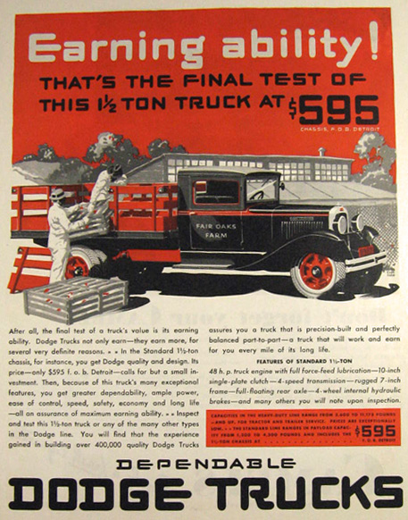 1931 Dodge Truck Ad ~ Fair Oaks Farm