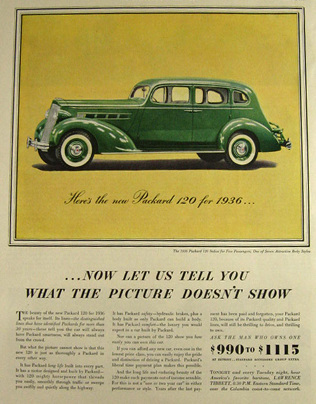 1936 Packard 120 Sedan Ad