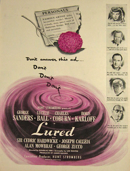 1947 Movie Ad ~ Lured ~ Lucille Ball, Boris Karloff