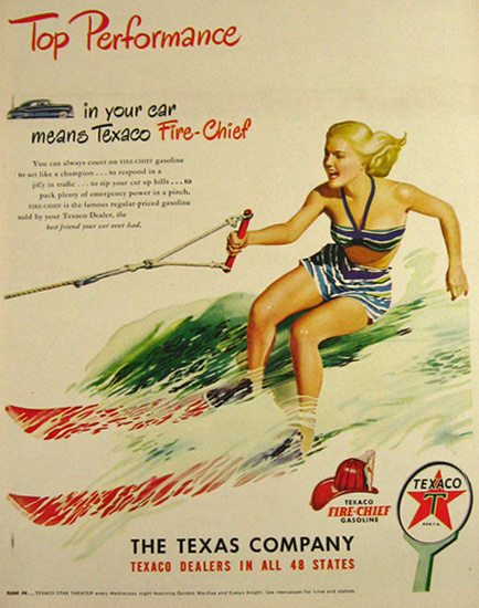 1948 Texaco Fire Chief Gasoline Ad ~ Vintage Waterskiing Art