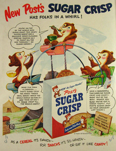 1951 Post Sugar Crisp Cereal Ad