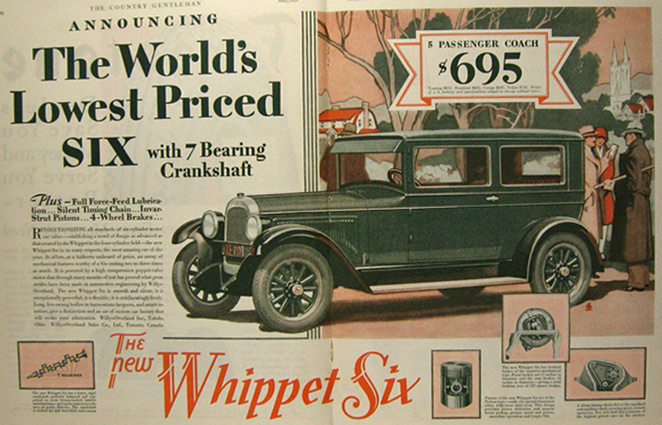 1928 Willys Overland Whippet Six Car Ad, Vintage Jeep/Willys Ads