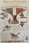 1923 Mother Goose Paper Doll Cut-Out ~ Airplane Broomstick