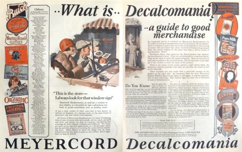 1927 Meyercord Decals Ad ~ Vintage Brand Names