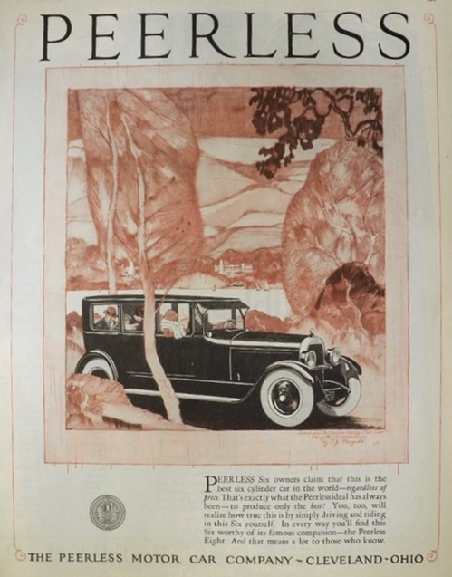 1924 Peerless Six Automobile Ad ~ F.J. Mayfield Hudson River