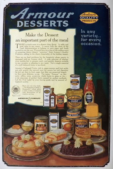1918 Armour Desserts Ad ~ Important Part of Meal