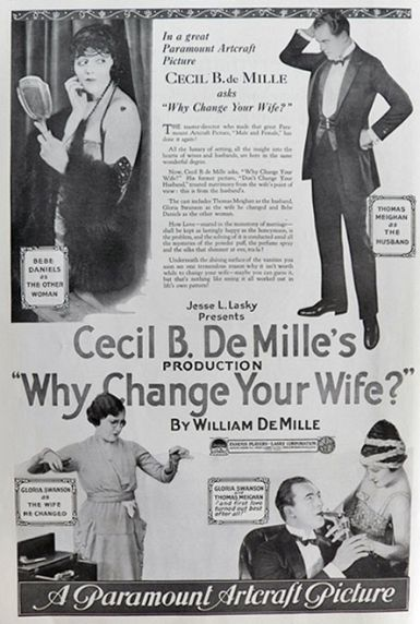 1920 Gloria Swanson Movie Ad ~ Why Change Your Wife?