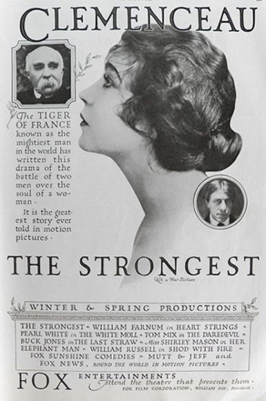 "1920 Renee Adoree ~ Clemenceau ~ ""The Strongest"" Movie Ad"