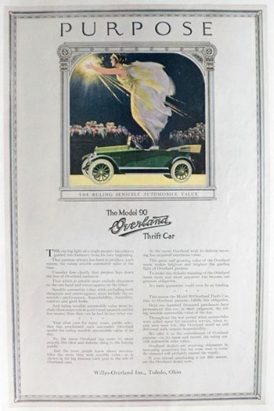 1919 Willys Model 90 Overland Ad ~ Purpose