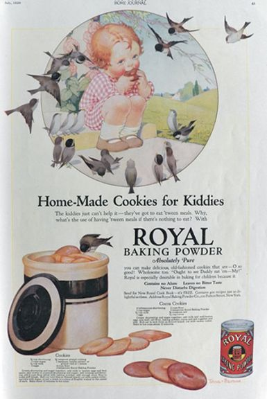 1920 Royal Baking Powder Ad ~ Child with Chickadees
