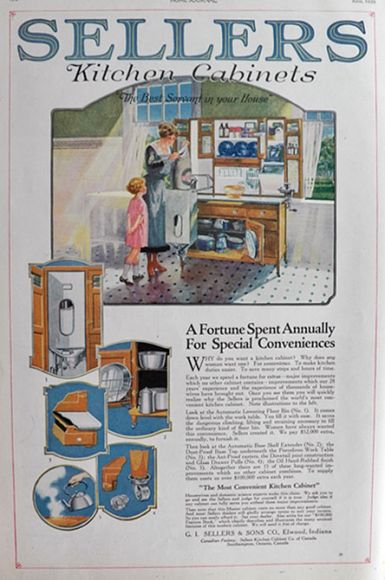 1920 Sellers Kitchen Cabinet Ad Special Conveniences Vintage
