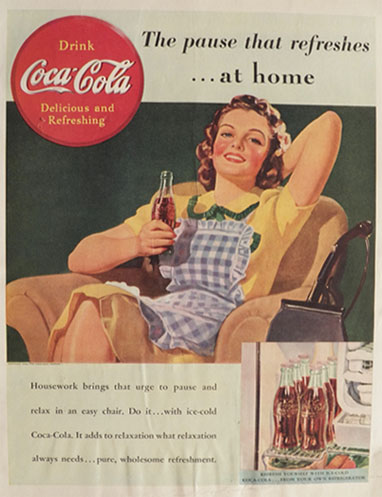 1939 Coca Cola Coke Ad ~ Housewife Relaxes
