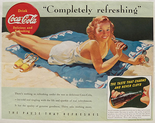 1941 Coca Cola Coke Ad ~ Beach Lady