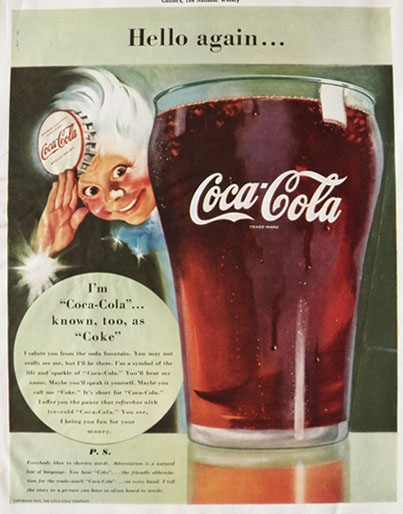 "1942 Coke Ad ~ ""Coke"" Is Short For Coca Cola"