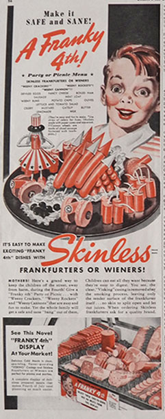 1941 Skinless Hot Dogs Ad ~ 4th of July