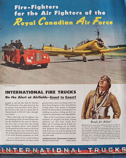 1942 International Harvester Truck Ad ~ RCAF Fire Truck