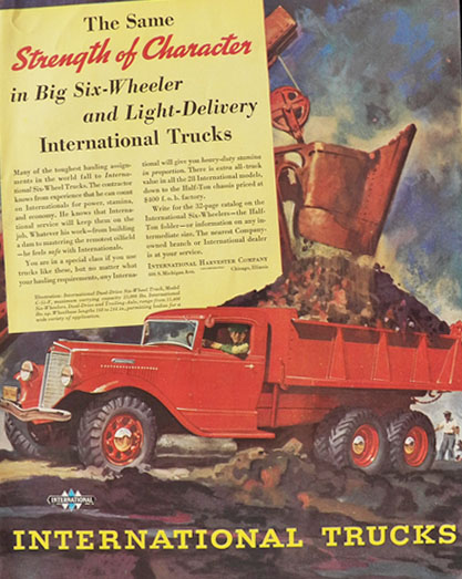 1936 International Harvester Truck Ad ~ Strength of Character