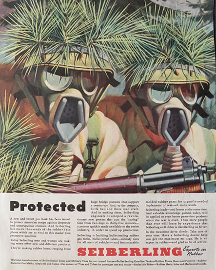 1943 WWII Sieberling Rubber Ad ~ Gas Masks for War