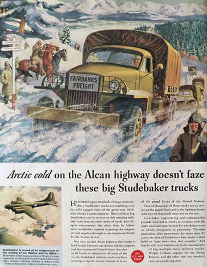 1943 Studebaker Military Truck Ad ~ Alcan Highway