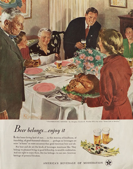 1949 Beer Belongs Ad Thanksgiving Dinner
